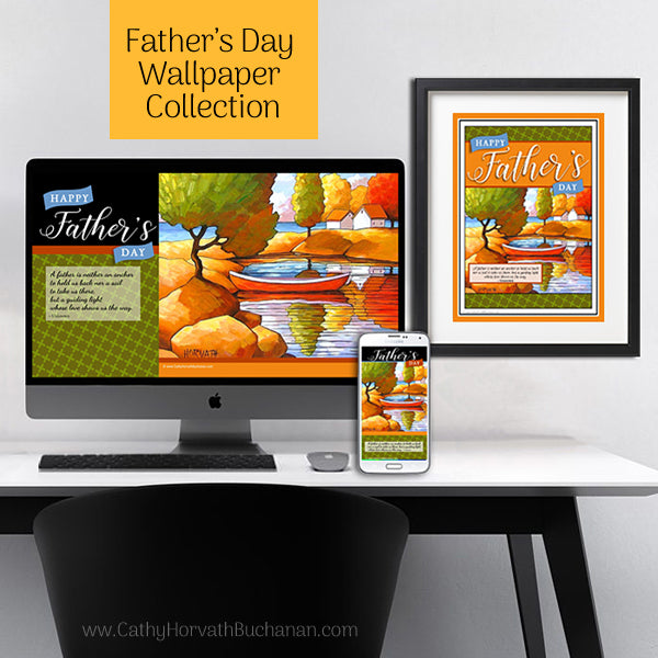 Fathers Day 3 Piece Wallpaper Art for Digital Devices + Wall Decor