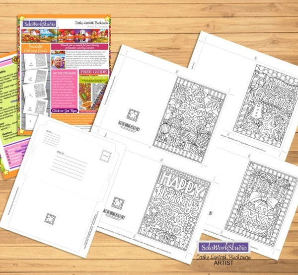 Coloring Cards 4 Set Kit, Christmas Holiday Card Designs + Envelope, PDF Download Printable