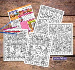 Christmas Holiday Coloring Pages 4 pack, Coloring Book, PDF Download Printable by Cathy Horvath Buchanan