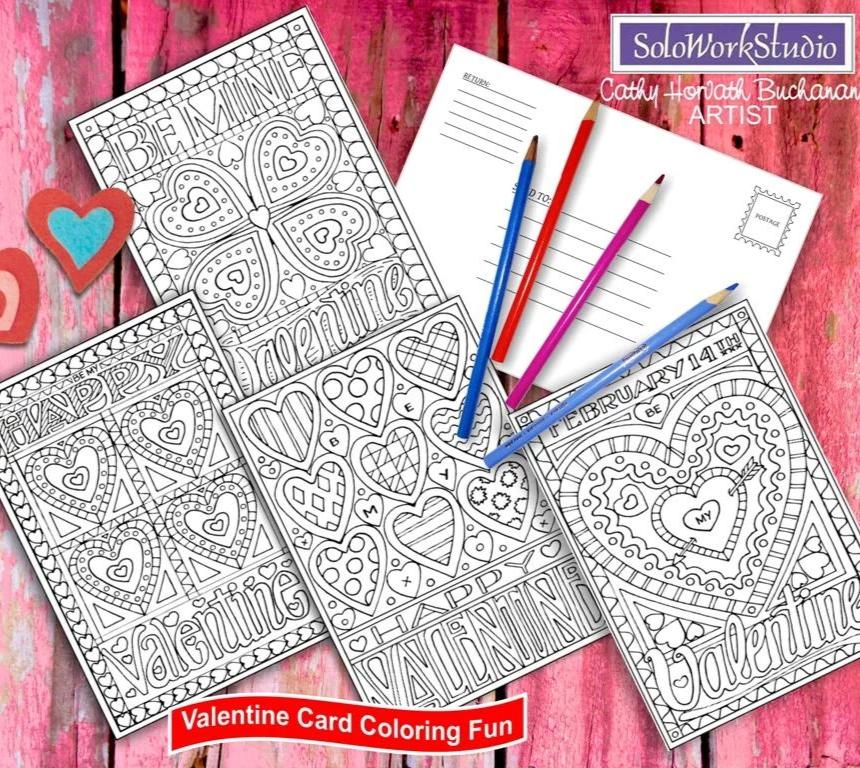 valentine coloring 4 card set printable kit download