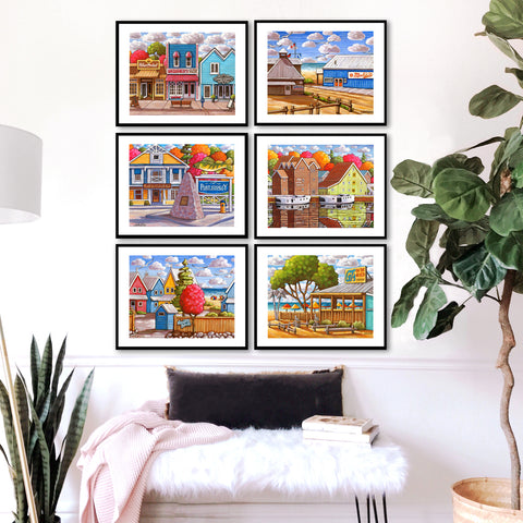Set of 6 Port Stanley View Art Print Collection Giclees