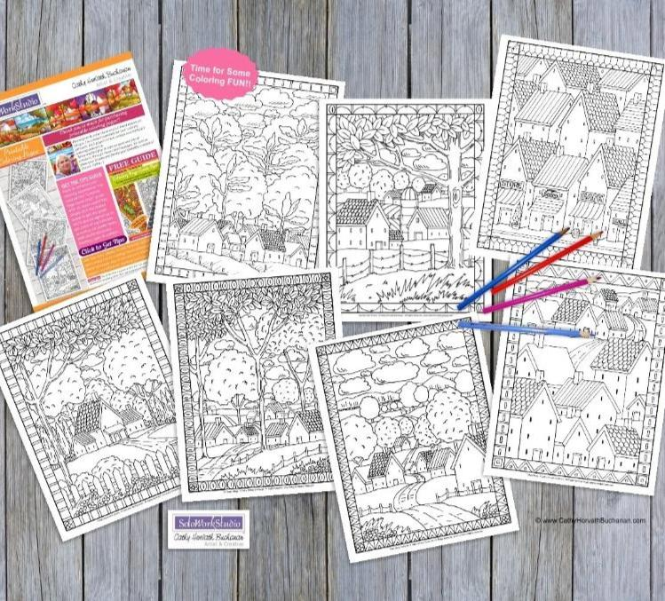 Town Country Village Folk Art Scene Coloring Pages 7 Pack,  PDF Download Printable