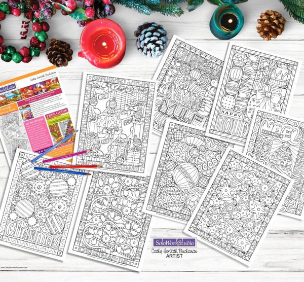 Christmas Holiday 8 Coloring Pages, PDF Printable Download Designs by Cathy Horvath Buchanan