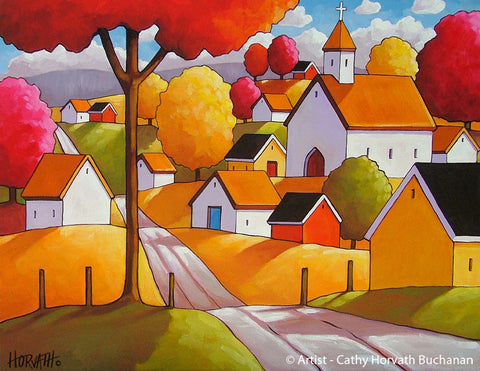 Autumn Town Road, Folk Art Print, Colorful Village Fall Landscape Giclee