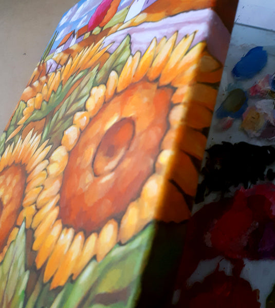 detail 1- sunflowers country painting - by cathy horvath buchanan