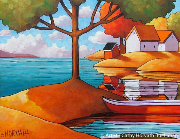 Red Canoe Shadows Summer Folk Art Print, Lake House Cabin Giclee