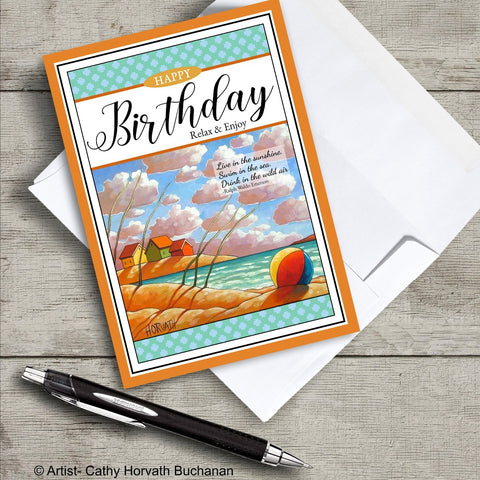 birthday greeting card beach ball and beach landscape art with an envelope and pen, greeting card by artist Cathy Horvath Buchanan