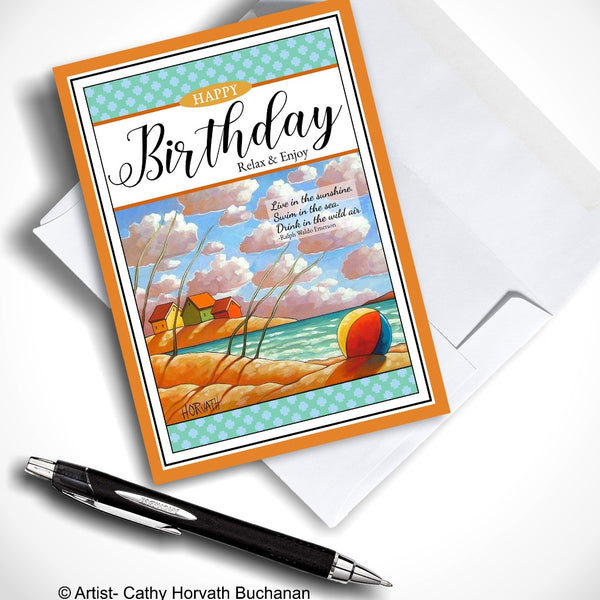 Birthday Greeting Card, Seaside Folk Art Beach Cottage View w Quote, 5x7 Relax & Enjoy Coastal Art Card