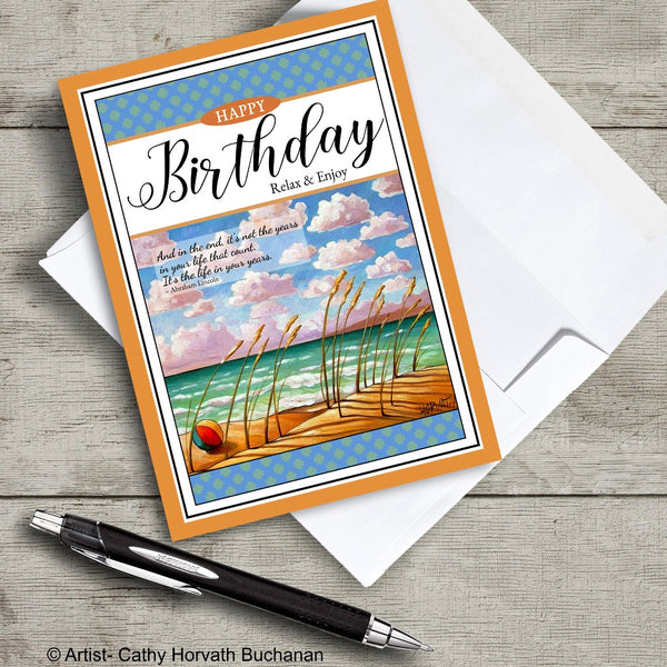 birthday greeting card of beach with an envelope and pen, greeting card by artist Cathy Horvath Buchanan,