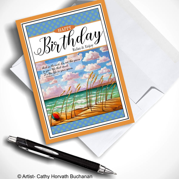 Birthday Greeting Card, Seaside Coastal Beach Ball w Quote, 5x7 Relax & Enjoy Art Card