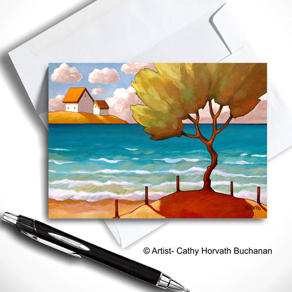 Beach Tree Art Card, Summer Seaside Coastal Road 5x7 Greeting Card by cathy horvath buchanan