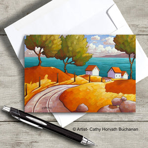 colorful coastal landscape with curving road and cottages art card with envelope