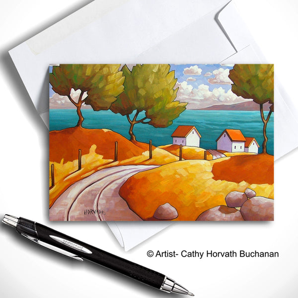 Oceanside Cottage Landscape Art Card, Summer Seaside Coastal Road 5x7 Greeting Card