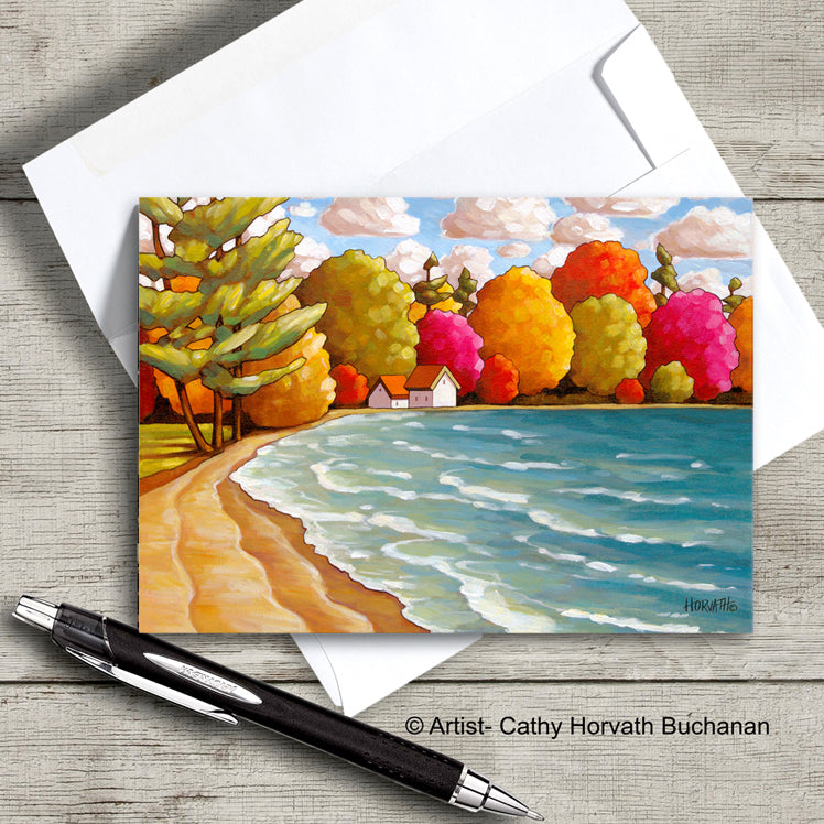 beach and water waves and colorful trees art card with envelope