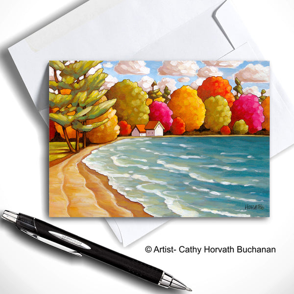 Lake of Bays Beach Art Card, Summer Seaside Coastal 5x7 Greeting Card by cathy horvath buchanan