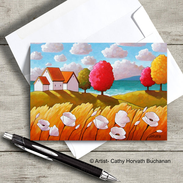 Oceanside White Blooms Cottage Landscape Art Card, Summer Seaside Coastal 5x7 Greeting Card on wood  by Cathy Horvath Buchanan