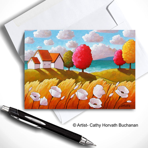 Oceanside White Blooms Cottage Landscape Art Card, Summer Seaside Coastal 5x7 Greeting Card on white by Cathy Horvath Buchanan