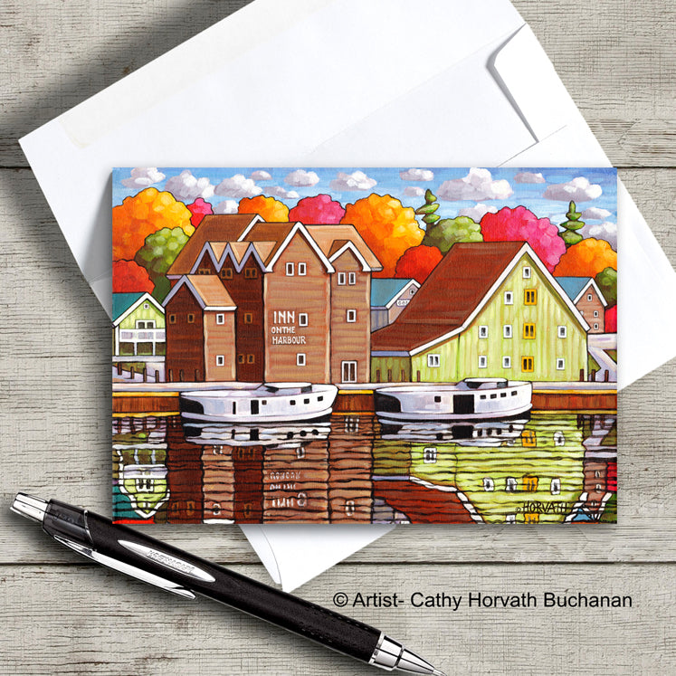 Port Stanley harbor scene on an art card with envelope by artist Cathy Horvath Buchanan