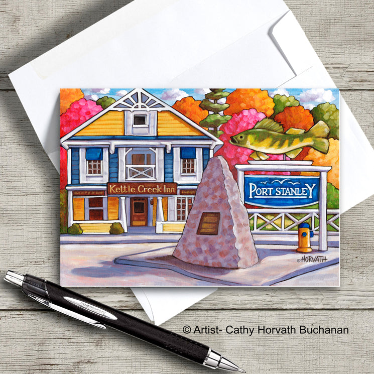 Port Stanley Inn Fish scene on an art card with envelope by artist Cathy Horvath Buchanan