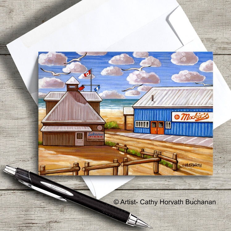 Port Stanley Mackies Beach scene on an art card with envelope by artist Cathy Horvath Buchanan