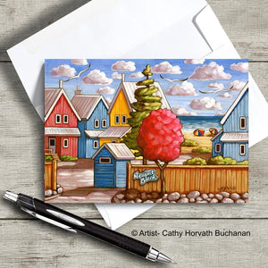 Port Stanley Beach home scene on an art card with envelope by artist Cathy Horvath Buchanan