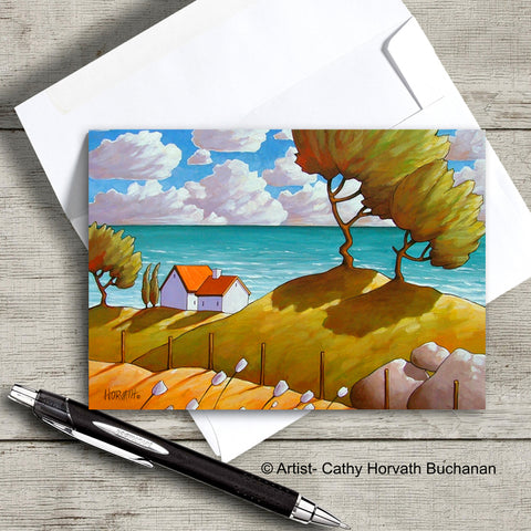 seaside landscape with windy tree and cottages art card with envelope