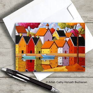 brightly colored waterside landscape village art card with envelope