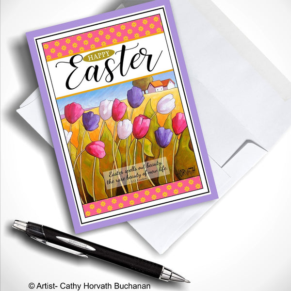 Greeting Card with Easter Tulips, Countryside Landscape with Easter Quote as a Folk Art Card, 5x7 Scenic Spring Art Card
