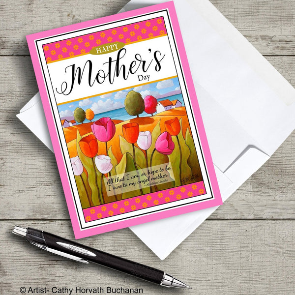 Mothers Day 5x7 Greeting Card, Seaside Tulips w Inspirational Quote by cathy horvath buchanan