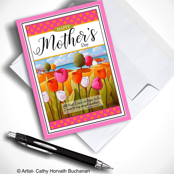 Greeting Card for Mothers Day, Seaside Tulips Folk Art Landscape with Inspirational ode to Mother Quote, 5x7 Scenic Spring Flowers for Mom Art Card