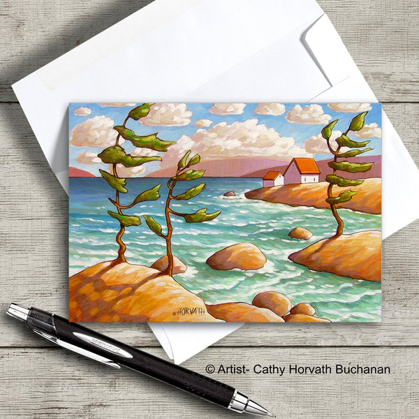 windy coastal landscape with trees rocks cottages art card with envelope  by Cathy Horvath Buchanan
