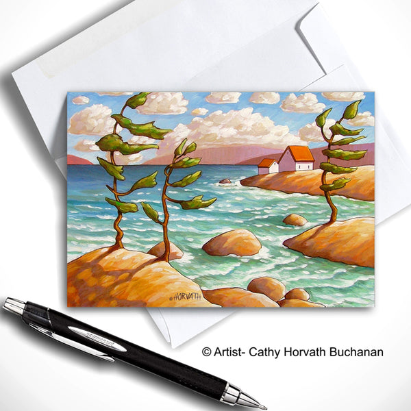 Windy Waves Seaside Art Card, Northern Coastal Cottages 5x7 Greeting Card
