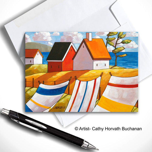 Laundry Seaside Breeze Art Card, Summer Coastal Cottage 5x7 Greeting Card