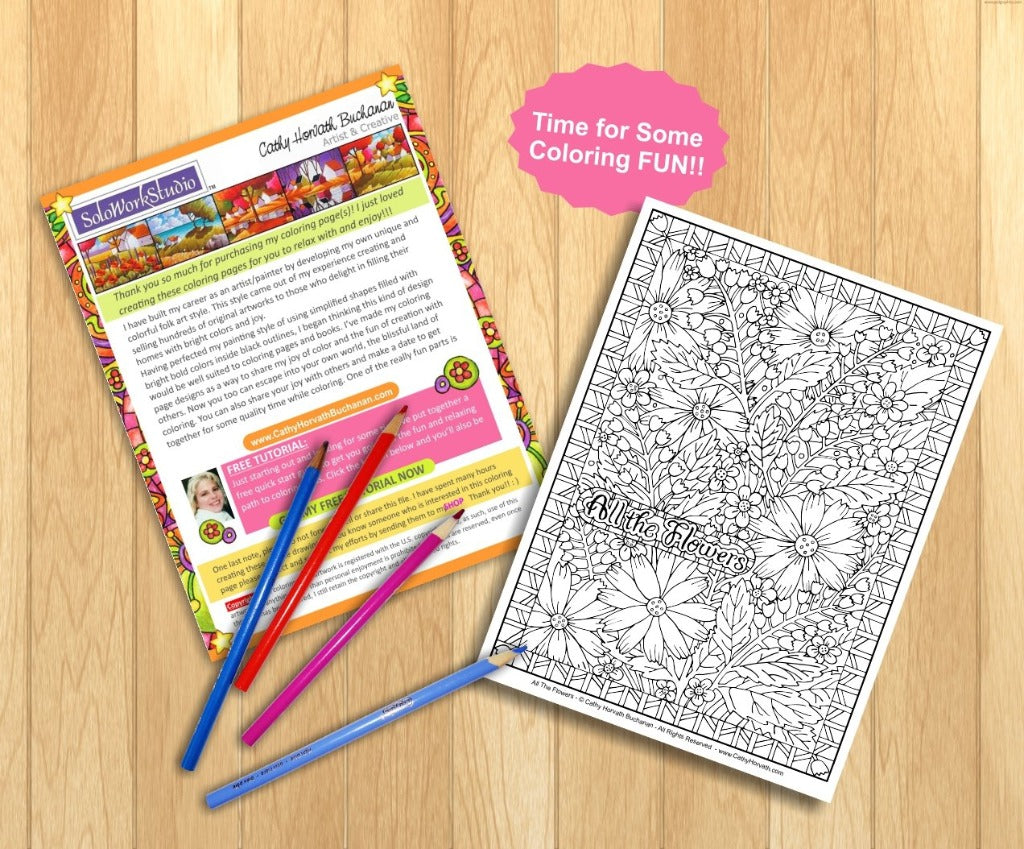 Flower Art Coloring Page Floral Pattern With Border Doodle Book PDF Instant Download