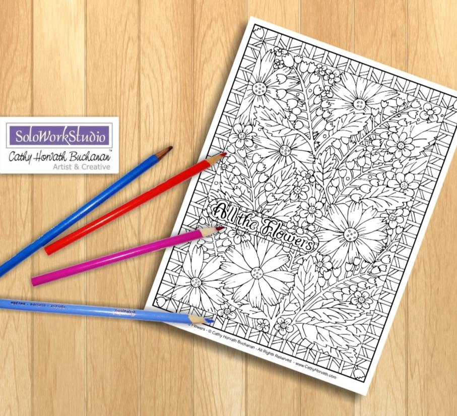 Flower Art Coloring Page, Floral Pattern w Border, PDF Printable Download by Cathy Horvath Buchanan