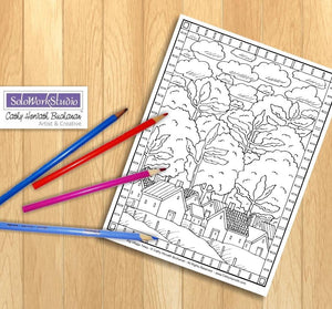Folk Art Town Village Trees Landscape Coloring Page, PDF Download Printable by Cathy Horvath Buchanan