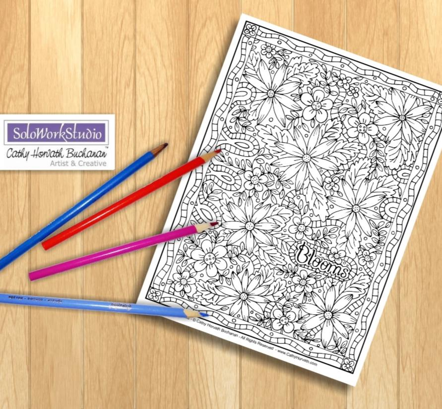 Flower Blooms Coloring Page, Floral Pattern Doodle, PDF Download Printable by Cathy Horvath Buchanan
