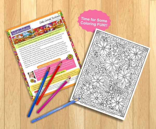 Flower Blooms Art Coloring Page, Floral Pattern Doodle Coloring Book PDF Download, Printable Digital Illustration Artwork Printout to Color