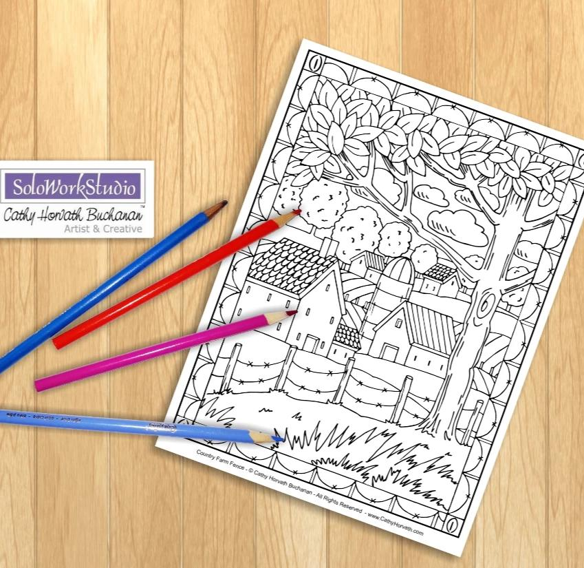 Rural Farm Country Folk Art Landscape Coloring Pages, PDF Download Printable by Cathy Horvath Buchanan