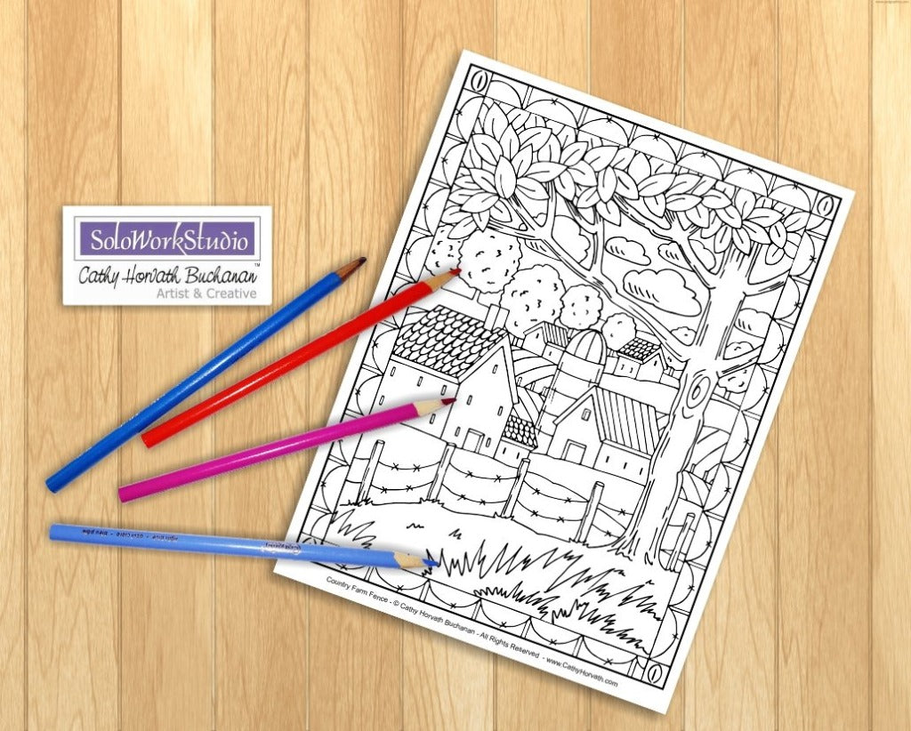 folk art country landscape coloring pages 4 pack printouts coloring