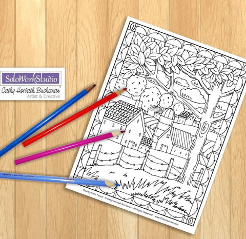 Rural Farm Country Folk Art Landscape Coloring Pages, PDF Download Printable