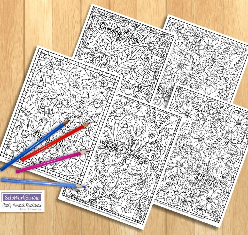 Flower Doodle Art Coloring Pages 5 Pack Printouts Floral Pattern Book PDF Instant Download
