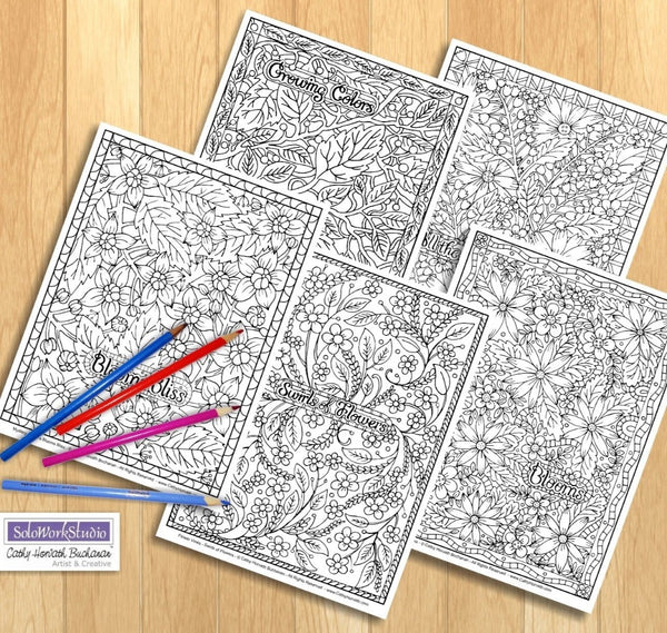 Flower Doodle Art Coloring Pages 5 Pack, PDF Download Printable