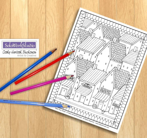 Town Shop Village Scene, Coloring Page Printable  PDF Download by Cathy Horvath Buchanan