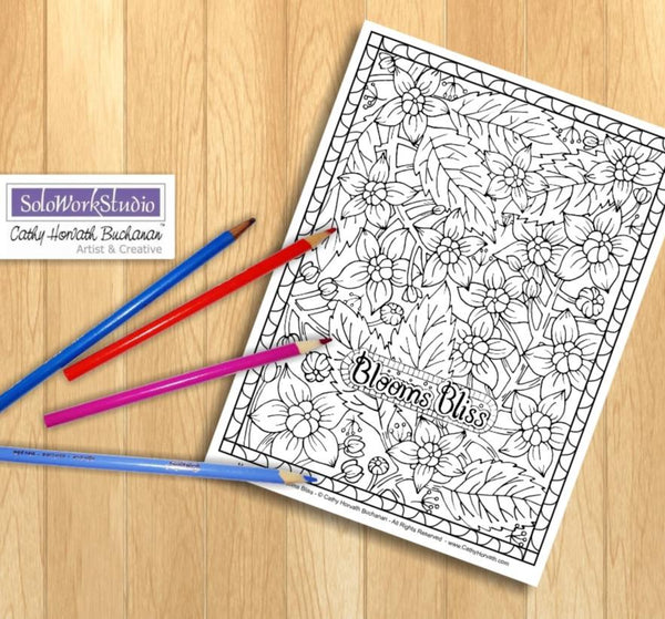 Flowers Blooms Bliss Art Coloring Page, Floral Pattern Doodle Coloring Book, PDF Download Printable Digital Illustration, Artwork Ink Drawing