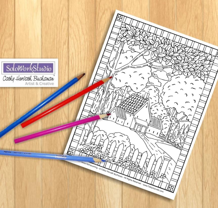 Country Home Folk Art Landscape Scenery, Coloring Page Printable to Color, Digital Illustration Artwork, Coloring Book PDF Instant Download