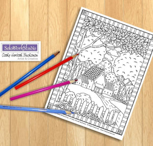 Country Home Folk Art Coloring Page, PDF Digital Download Printable