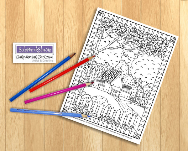 Folk Art Town Country Village Landscape Coloring Pages 7 Pack Collection , Coloring Book, PDF Instant Download, Printable Digital Illustration Artwork