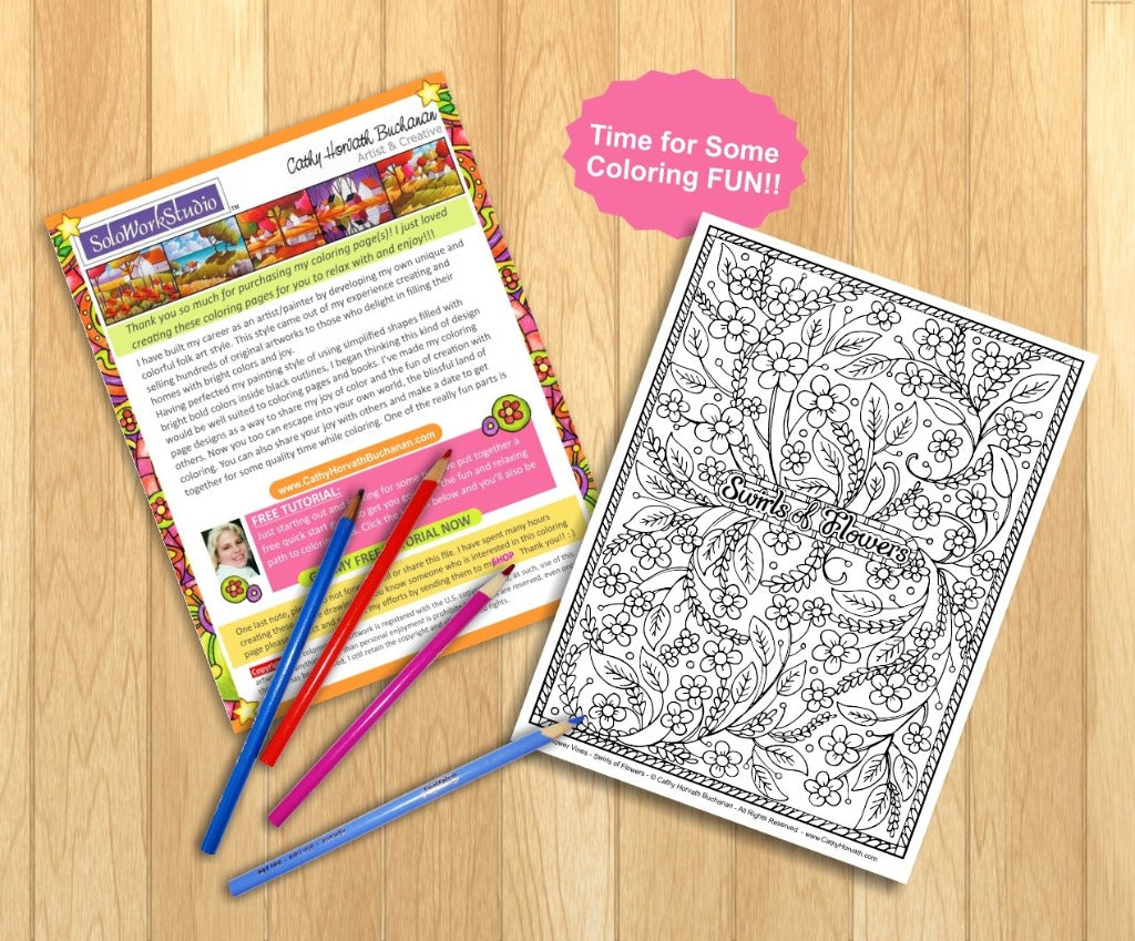 Flower Swirls Art Coloring Page, Floral Pattern Doodle Coloring Book ...
