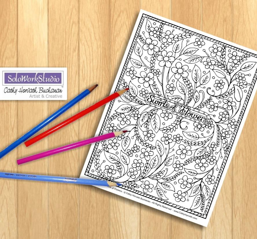 Flower Swirls Art Coloring Page, Floral Pattern Doodle Coloring Book, PDF Download, Printable Digital Illustration Artwork, Print to Color
